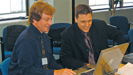 Greg Pichler, Jason Mervyn speak at the seminar, Web Portals for Law Firms on July 19, 2005.